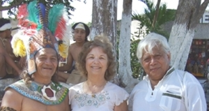 Lennie with Maya elders at Chichen Itza