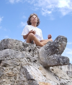 Meditating on serpent head at Mayapan