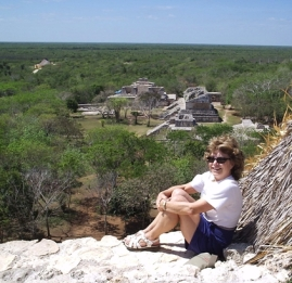 View across limestone plateau from highest pyramid at Ek Bahlam, Yucatan