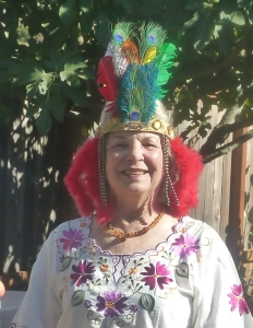 Lennie wearing headdress at Book Launch Party Oct. 2015
