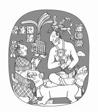 Sak K'uk presents drum major headdress of rulership to Janaab Pakal
