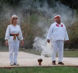 Leonide (Lennie) Martin and Hunbatz Men do ceremony at Lol Be
