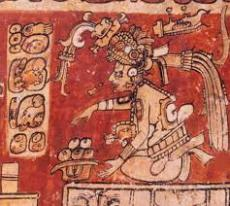 Itzamna Painted on Vase Performing Ritual
