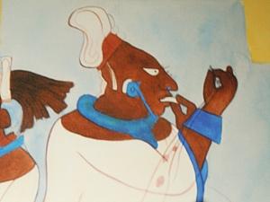 Royal Woman Wearing Maya Blue Adornments Bonampak Murals