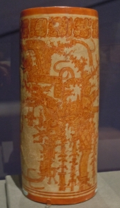 Straight-sided Drinking Cup, Orange on Cream Slip
