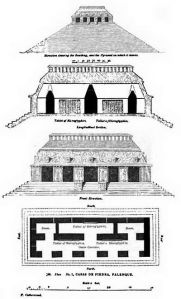 Catherwood Sketch and Architectural Floor Plan Temple of Inscriptions