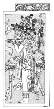 Smoking Lord, Temple of the Cross L. Schele drawing, FAMSI