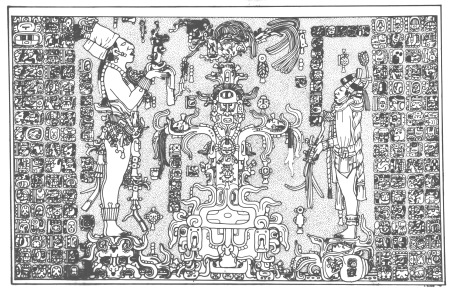 Temple of Foliated Cross L. Schele drawing, FAMSI