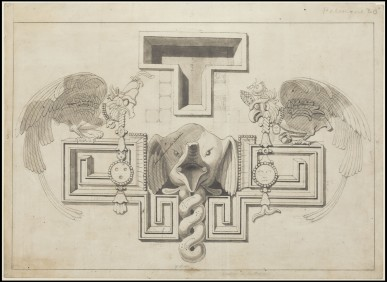 Waldeck drawing of elephant head on Palace wall