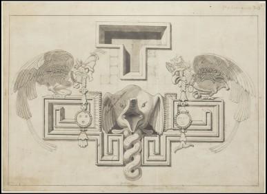 Waldeck drawing of elephant head on Palace wall