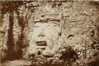 De Charnay photo of mask in Izamal