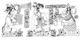 The Palace Tablet Janaab Pakal on left, Kan Joy Chitam in center, Tz'aakb'u Ahau on right