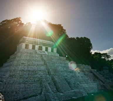 Winter Solstice Sunset over Pyramid of Inscriptions, Palenque