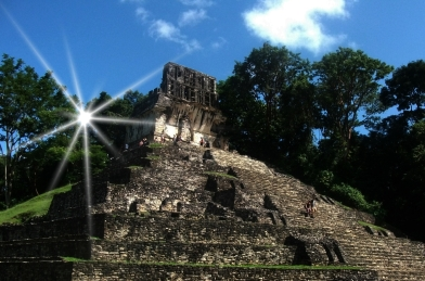 Summer Solstice sunrise behind Temple of the Cross, Palenque