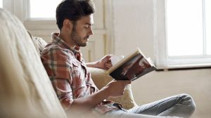 Man reading book.