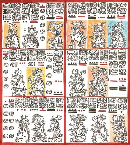 Page from Dresden Codex with figures and hieroglyphs.