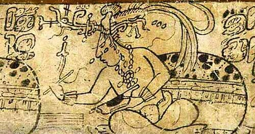 Mayan scribe writing in codex with reed brush. He has a conch shell in left hand, cut in half to hold paints.