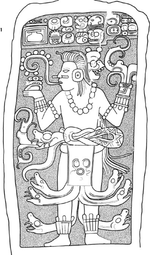 Speech scroll leaving mouth of ancient Mayan figure.