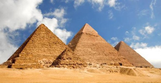 Photo of three Egyptian pyramids