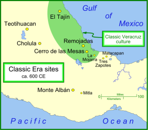 Map of major sites in central Mexico